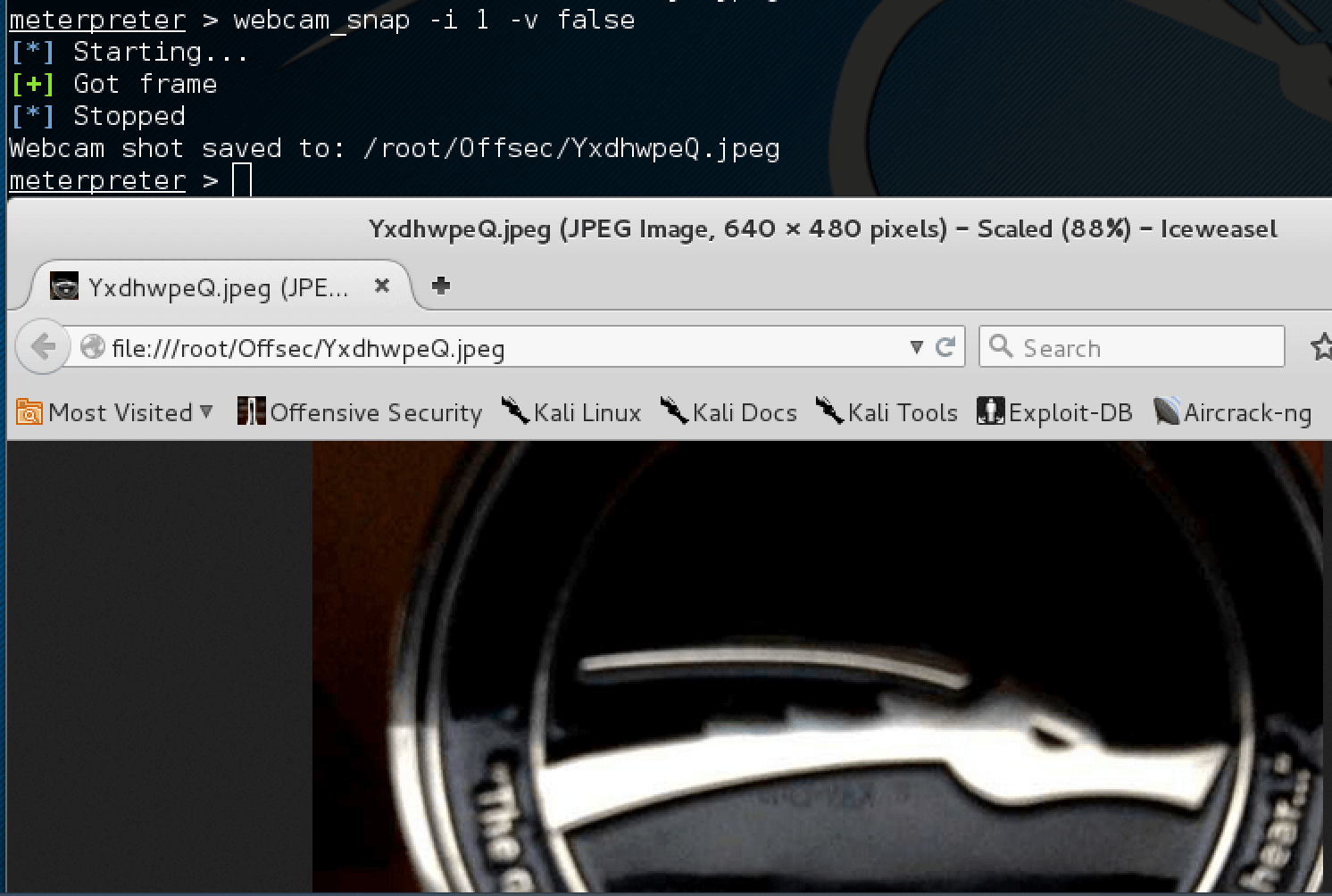 Using webcam_snap Meterpreter plugin | Metasploit Unleashed