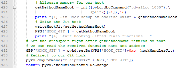 Setting a breakpoint just after the getMethodName call in our hooks